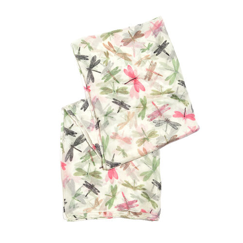 100% Mulberry Silk Cream, Green and Multi Colour Dragonfly Printed Scarf (Size 180x100 Cm)