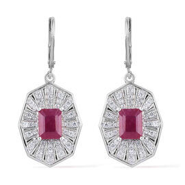 African Ruby (Oct), Natural Cambodian Zircon Lever Back Earrings in Platinum Overlay Sterling Silver 5.780 Ct, Silver wt 7.66 Gms