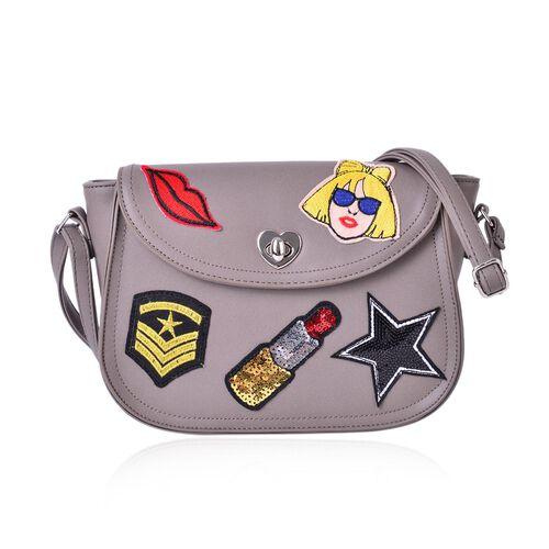 Multi Colour Lip, Star, Fashionable Girl and Lipstick Pattern Grey Colour Crossbody Bag with Adjusta