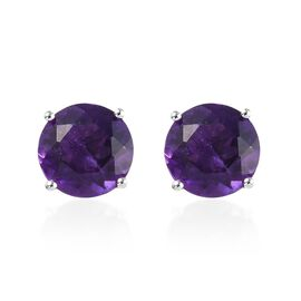 AA Amethyst (Rnd) Stud Earrings (with Push Back) in 9K White Gold  3.70 Ct.