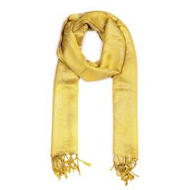 Yellow Colour Metallic Floral Pattern Scarf (Size 50x180 Cm)