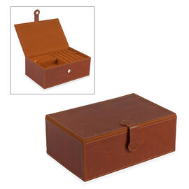 Leather Two Tier Jewellery Box with Magnetic Flap Closure (Size 23.5x14.5x9 Cm) - Brown Colour