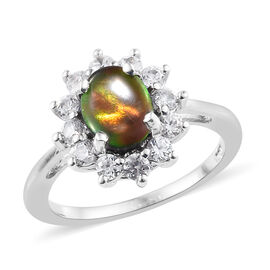 Canadian Ammolite (2.00 Ct),Cambodian Zircon Platinum Overlay Sterling Silver Ring  3.000  Ct.