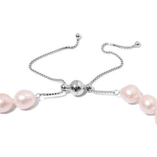 Designer Inspired- Double Lustre Fresh Water White Pearl Adjustable Necklace with Magnetic Clasp (Size 18 to 24) in Rhodium Overlay Sterling Silver.