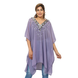 Crystal-Embellished V-Neck Kaftan Top (One Size; L-90cm, W-74cm) - Purple