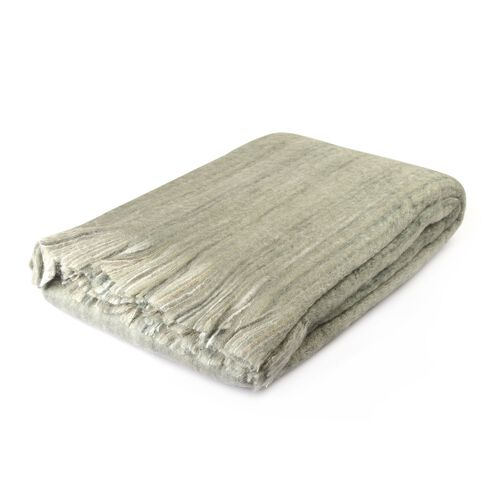 30% Mohair Wool Grey and Multi Colour Throw with Fringes (Size 180X130 Cm)