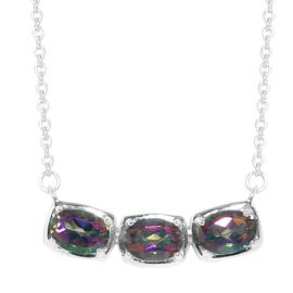 Northern Lights Mystic Topaz Necklace (Size 18) in Platinum Overlay Sterling Silver 2.25 Ct.