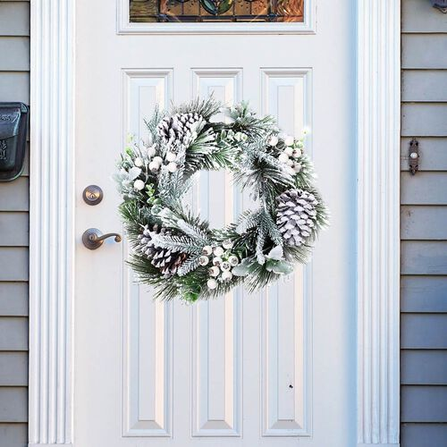 Christmas Decoration Wreath with Snow Flocking, Pine Cone and Hawthorn Fruits (Size: 26cm) - White