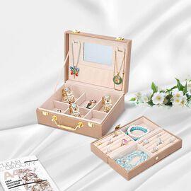 Set of 2 - Multi Purpose Two-Tier Lizard Skin Pattern Jewellery Box in Brown Colour