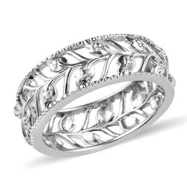 Diamond Leaf Band Ring in Platinum Plated Silver