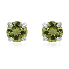 Hebei Peridot  (Rnd) Stud Earrings (with Push Back) in Rhodium Overlay Sterling Silver 1.560 Ct.