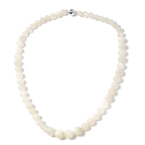 Natural Sri Lankan Silver Moonstone (Rnd) Beads Necklace (Size 20) in Rhodium Overlay Sterling Silver with Magnetic Clasp 296.000 Ct