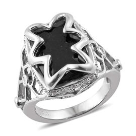 7 Carat  Black Tourmaline and Zircon Classic Ring in Platinum Plated Silver 6.40 Grams