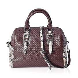 One Time Close Out Deal- 100% Genuine Leather Black and Beige Snake Skin Pattern Tote Bag with Detac