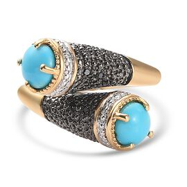 Arizona Sleeping Beauty Turquoise and Black Diamond Bypass Ring in 14K Gold Overlay and Black Platin