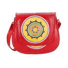 SUKRITI 100% Genuine Leather Madhubani Art Mandala Pattern Crossbody Bag (Size 25.50x6.25x21.50 Cm)