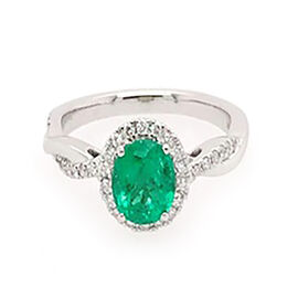 RHAPSODY 950 Platinum AAAA Boyaca Colombian Emerald (Ovl 7.05x6.15mm), Diamond (VS/E-F) Ring 1.30 Ct