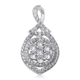 ELANZA Simulated Diamond Cluster Pendant in Rhodium Plated Sterling Silver