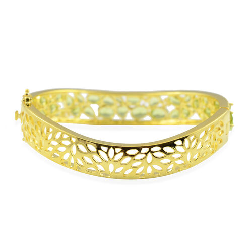 Hebei Peridot and Natural Cambodian Zircon Bangle (Size 7.5) in Yellow Gold Overlay Sterling Silver 15.08 Ct, Silver wt 33.19 Gms