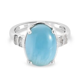 Dominian Republic Larimar and Diamond Ring in Platinum Overlay Sterling Silver 6.00 Ct.