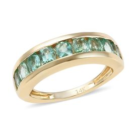 1.50 Ct AA Boyaca Colombian Emerald Half Eternity Band Ring in 14K Gold 3.55 Grams