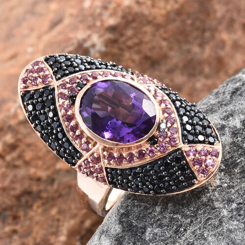 Designer Inspired- Lusaka Amethyst Boi Ploi Black Spinel and Rhodolite Garnet Ring in Black Rhodium and Rose Gold Overlay Sterling Silver 6.500 Ct. Number of Gemstones 141, Silver wt. 8.00 Gms.