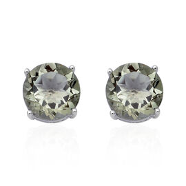 6.79 Ct Prasiolite Solitaire Stud Earrings in Sterling Silver