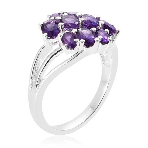 Amethyst (Ovl) Cluster Ring in Sterling Silver 3.000 Ct.