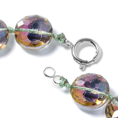 Simulated Rainbow Mystic Topaz Coin Beads Necklace (Size 21) in Silver Bond.