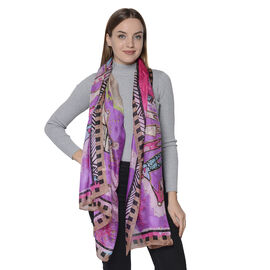 LA MAREY New Collection - 100% Mulberry Silk Colourful Figures Patterned Scarf (Size 180x110cm) - Pu