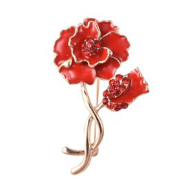 TJC Poppy Design - Red Austrian Crystal Enamelled Poppy Brooch in Gold Tone
