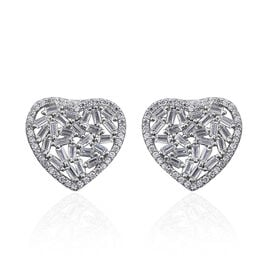 ELANZA Simulated Diamond (Bgt) Heart Stud Earrings (with Push Back) in Rhodium Overlay Sterling Silver