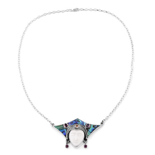 Abalone Shell (Ovl), OX Bone Carved Face, Rhodolite Garnet,  African Ruby and Orange Sapphire Necklace (Size 20) in Sterling Silver