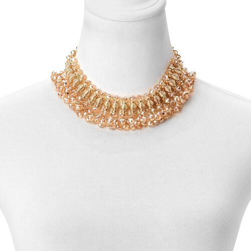 Simulated Champagne Diamond Choker Necklace (Size 13 with 6 inch Extender) in Yellow Gold Tone