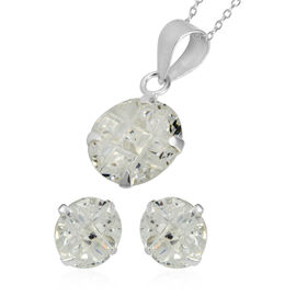 2 Piece Set - ELANZA Simulated Diamond (Sqr) Earrings and Pendant with Chain (Size 18) in Sterling S