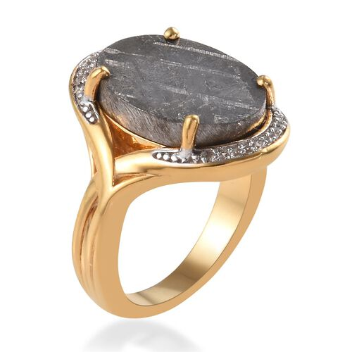 Tucson Special - Meteorite (Ovl 16x12mm), Natural Cambodian Zircon Ring in 14K Gold Overlay Sterling Silver 4.42 Ct.