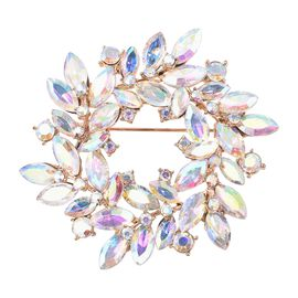 Simulated Mercury Mystic Topaz (Mrq), Simulated Mystic White Crystal Brooch in Yellow Gold Tone