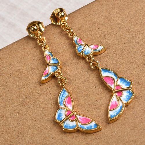 14K Gold Overlay Sterling Silver Enamelled Butterfly Earrings (with Push Back)