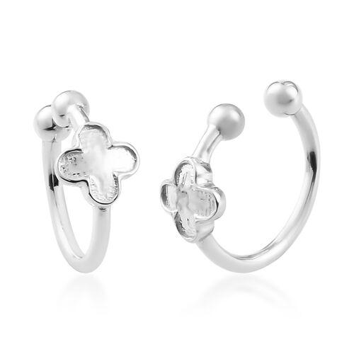 Sundays Child - Platinum Overlay Sterling Silver Four-Leaf Clover Clip Earrings