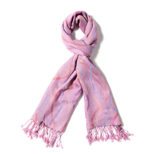 Designer Inspired- Pink, Purple and Multi Colour Scarf with Wave Pattern (Size 180x70 Cm)