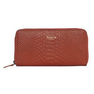 Assots London HAZEL Python Embossed Genuine Leather Zip Around Purse (Size 20x2x10 Cm) - Red (Navigation Fashion Accessories Handbags) photo