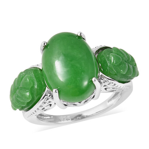 12.75 Ct AAA Green Jade Trilogy Ring in Rhodium Plated Sterling Silver