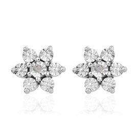 Designer Inspired- Diamond (Rnd) Floral Earrings (with Push Back) in Platinum Overlay Sterling Silve