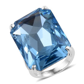 Crystal from Swarovski - Aquamarine Colour Crystal (27.00 Ct) Platinum Overlay Sterling Silver Ring  27.000  Ct.
