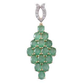9K Yellow Gold Kagem Zambian Emerald (Ovl), Natural White Cambodian Zircon Pendant 3.500 Ct.
