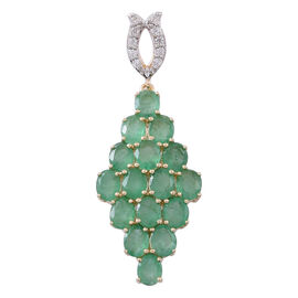 3.5 Ct Zambian Emerald and White Zircon Cluster Pendant in 9K Gold 2.25 Grams