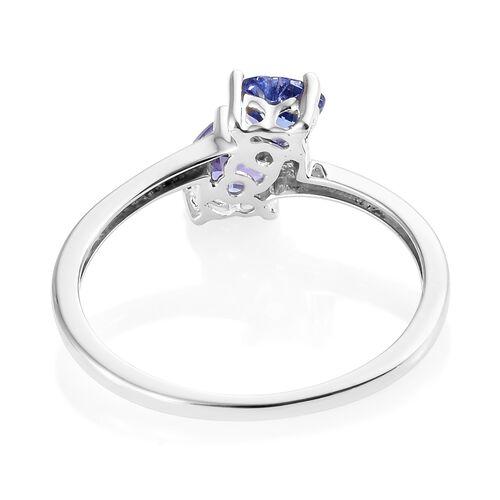 9K White Gold AA Tanzanite Twin Heart Ring 0.75 Ct