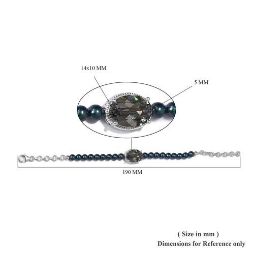 J Francis - Crystal from Swarovski Black Diamond Crystal and Iridescent Tahitian Look Pearl Crystal Bracelet (Size 6-7.5 with Extender) in Sterling Silver