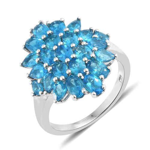 AA Malgache Neon Apatite Cluster Ring in Platinum Overlay Sterling Silver 4.000 Ct.