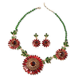 2 Piece Set - Multi Colour Austrian Crystal Necklace (Size 20 with 2 inch Extender) and Earrings (wi